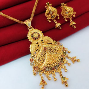 Halltree Gold Plated Pendent Set with Chain and Earrings 6