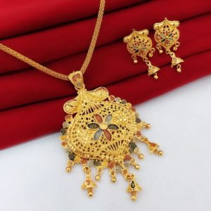 Halltree Gold Plated Pendent Set with Chain and Earrings 7