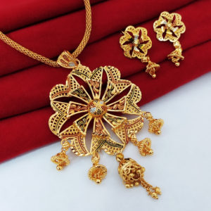 Halltree Gold Plated Pendent Set with Earrings 3