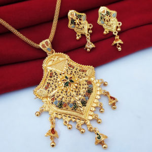 Halltree Gold Plated Pendent Set with Earrings 11