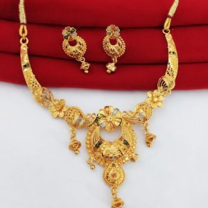 Halltree Gold Plated Necklace Set with Earrings 9