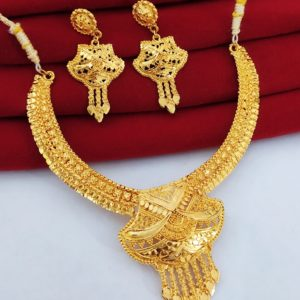 Halltree Gold Plated Necklace Set with Earrings 4