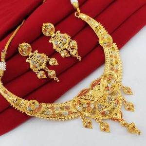 Halltree Gold Plated Necklace Set with Earrings 6