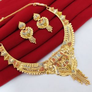 Halltree Gold Plated Necklace Set with Earrings 12