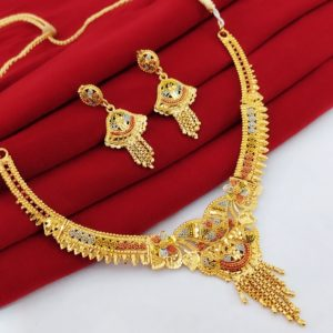 Halltree Gold Plated Necklace Set with Earrings 7