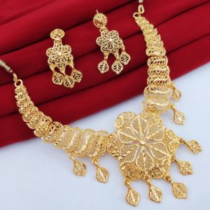 Halltree Gold Plated Necklace Set with Earrings 5