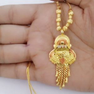 Halltree Gold Plated Pendent Set with Chain and Earrings 9