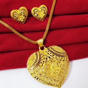 Halltree Gold Plated Pendent Set with Chain and Earrings 12