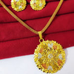 Halltree Gold Plated Pendent Set with Chain and Earrings 2