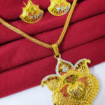 Halltree Gold Plated Pendent Set with Chain and Earrings 1