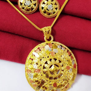 Halltree Gold Plated Pendent Set with Chain and Earrings 11