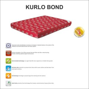 "Kurlon Mattresses Kurlo Bond Coir Mattresses 6"" 72*72 3"