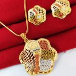Halltree Gold Plated Pendent Set with Earrings 2