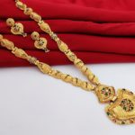 Halltree Gold Plated Long Necklace Set with Earrings 1