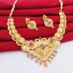 Halltree Gold Plated Necklace Set with Earrings 1